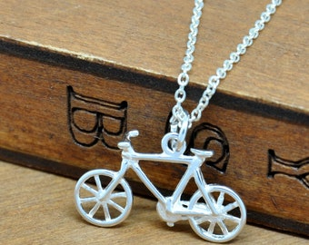 Sterling Silver Bicycle Charm on Silver Chain Necklace, Bike Jewelry, Sport Jewellry, Bicycle Jewelry, Dainty Necklace