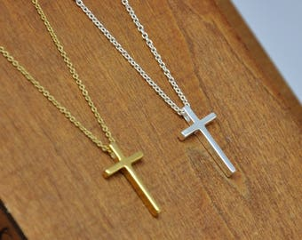 141c689f245cea Cross Necklace, Dainty Cross Necklace in Gold or Silver, Simple Cross  Necklace, Sterling Silver Cross Pendant Necklace, Christmas Gift
