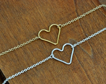 Gold Silver Heart Bracelet, I lOVE You Jewelry, Bridesmaids gift, bridal jewelry, Best Friend gift, Gift for mommy, Simple Everyday Wear