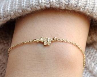 Elephant Jewelry, Gold or Silver Elephant Bracelet, Elephant Charm Bracelet, Animal Jewelry, Animal Bracelet, Children Bracelet