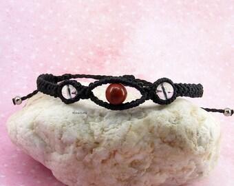Black micro-macramé bracelet red jasper and quartz