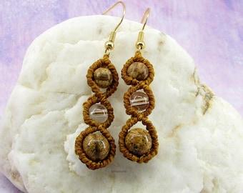 Quartz earrings and jasper brown micro-macramé landscape