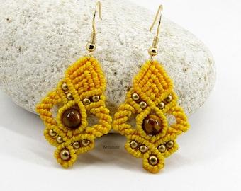 Yellow micro-macramé tiger eye earrings