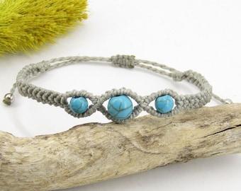 Macramé howlite bracelet tinted sliding clasp