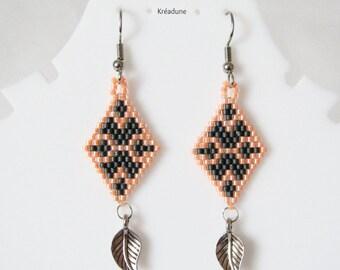 Woven earrings beads Miyuki-grey & ORANGE