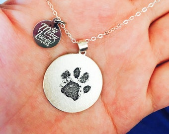 6f9a9befacf Pet memorial necklace paw print pendant  Dog paw necklace  Cat paw necklace   Pet paw necklace  Custom pet jewelry  Personalized pet necklace