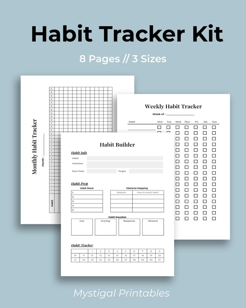 Habit Tracker Kit Habit Builder Kit Monthly Habit Tracker image 0