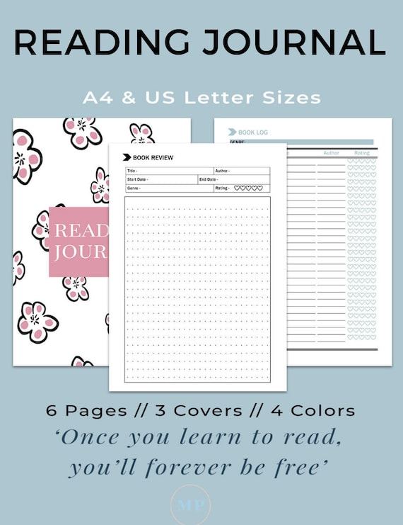 Reading Journal Book Journal Book Review Template Etsy