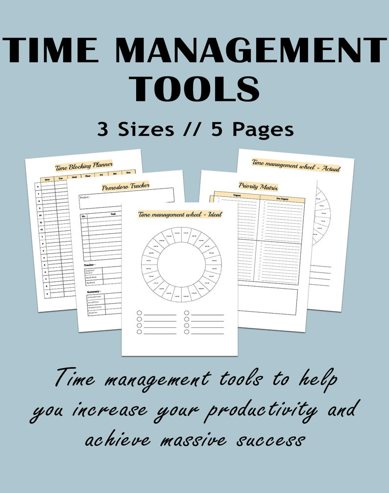 picture relating to Time Management Printable named Year handle printable, Season handle printable, Precedence matrix , Pomodoro Planner, Season log, Year block planner, efficiency wheel