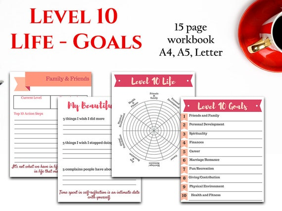 goal setting planner level 10 life planner life review etsy