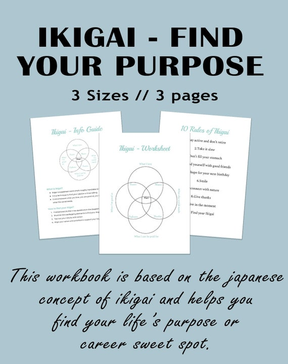 Find your Ikigai Worksheet | Find your Career | Career Test | Find your  purpose | Life Purpose worksheet | Personal Development Test