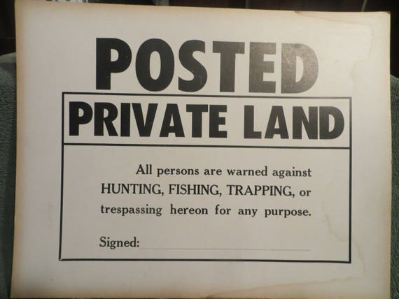 Vintage 1950s No Trespassing Posted Private Land Cardboard Etsy