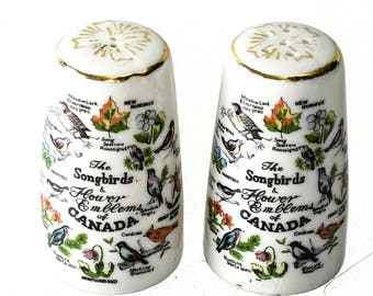 The Songbirds & Flower Emblems of Canada Salt and Pepper Shakers