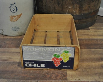 Vintage Wood Crate - Curimon Grapes Produce of Chile