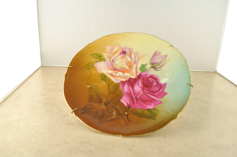 Vintage Decorative Rose and Gold Leaf Plate Unmarked | Etsy