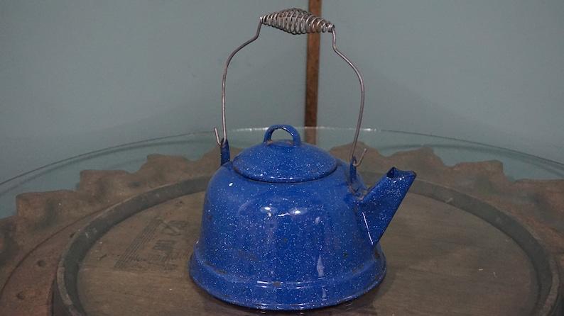 Vintage Blue Enamel Tea Kettle