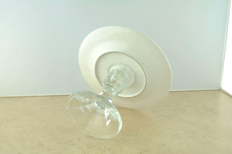 Creative Regency Rose Plate on Glass Base Vintage Dessert Stand