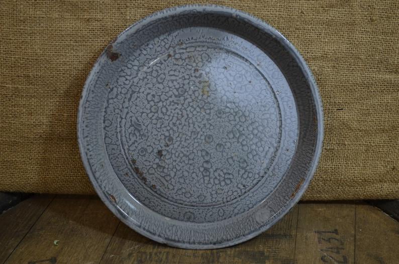 Gray On Gray Speckles Vintage Enamel Pie Plate