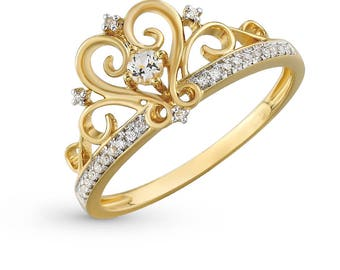 14K Gold Crown Ring, Princess crown ring, Queen ring, Princess ring, Gold Crown Ring, Tiara ring, Crown ring