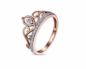 14K Rose Gold Crown Ring, Princess crown ring, Queen ring, Princess ring, Rose Gold Crown Ring, Tiara ring, Crown ring