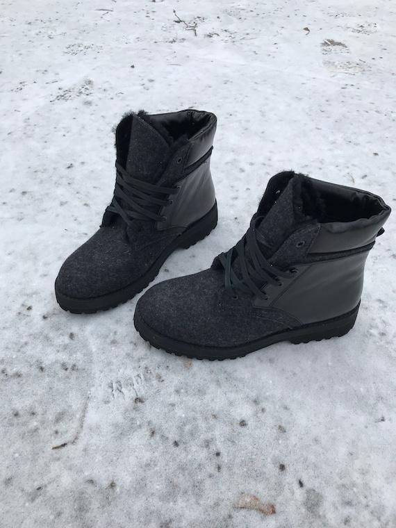 Felt leather winter black fur boots
