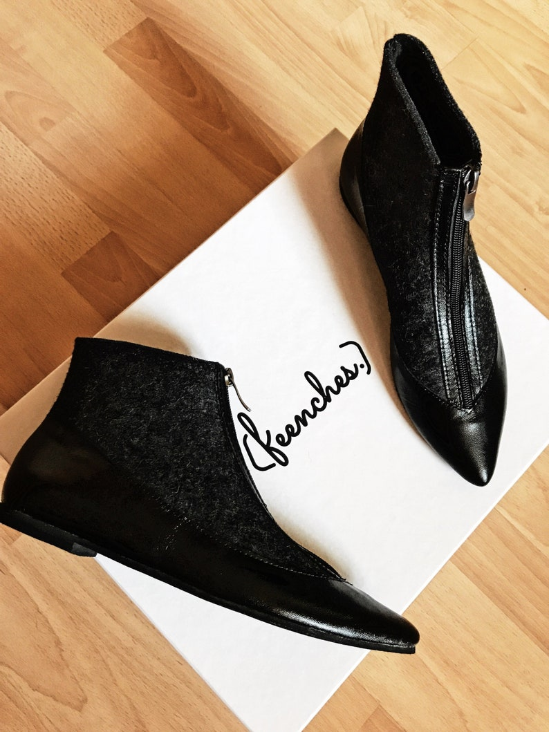 d38603151bd Pointed toe boots Womens shoes Women ankle boots Designers shoes Black  leather boots Short boots Elegant shoes Flat shoes for women