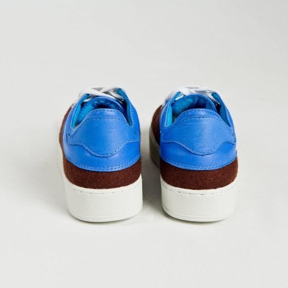 Benutzerdefinierte Gefilzt Flache Keds Gemütlich Schurwolle Braun Einzigartige Filz Turnschuhe Schuhe Designer Komfortabel Frauen Blau gIbvy7Yf6