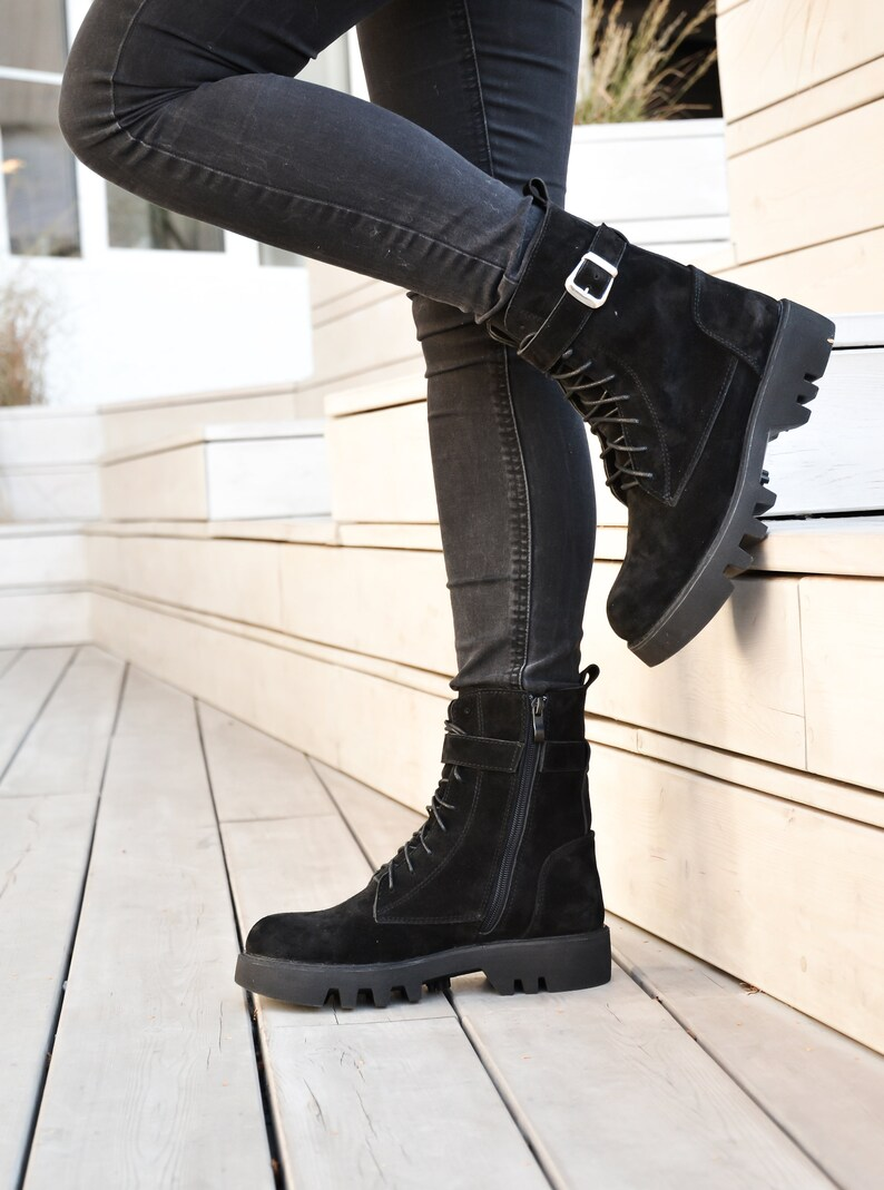 Black combat suede ankle boots for womens