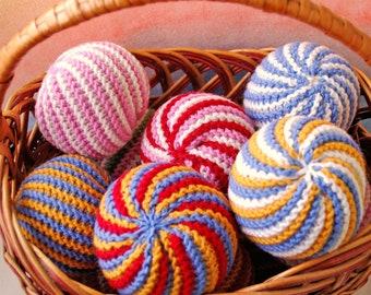 Waldorf Inspired Colorful Balls Wool Rainbow Balls Organic Ball Baby Toy Balls Knit Wool Waldorf Toys Montessori Balls Knitted Sensory Balls