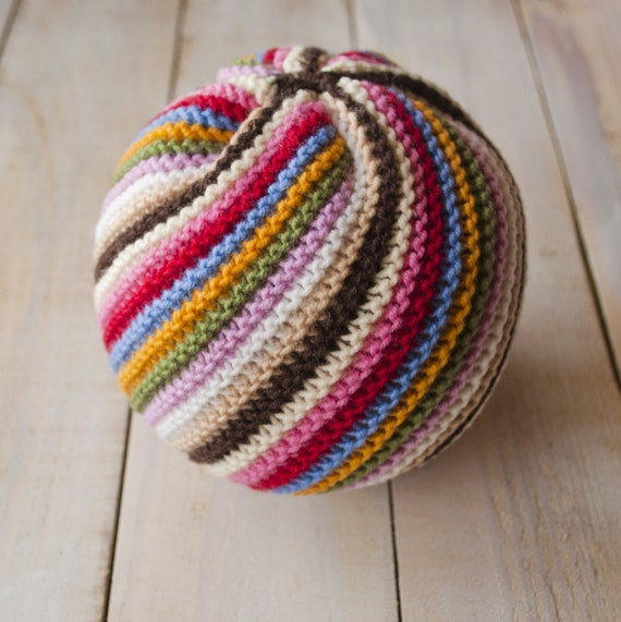 Waldorf Inspired Big Rainbow Ball Knitted And Stuffed By Wool Etsy