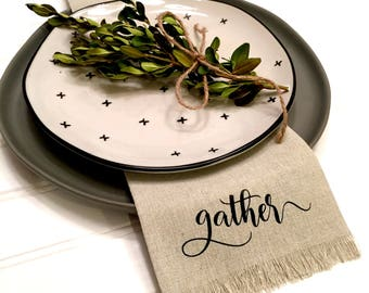 FOUR Gather Linen Napkins, Cloth Napkins, Dinner Napkins, Fabric Napkins, Farmhouse Napkins, Place Setting, Holiday Table