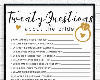 20 questions bridal shower game