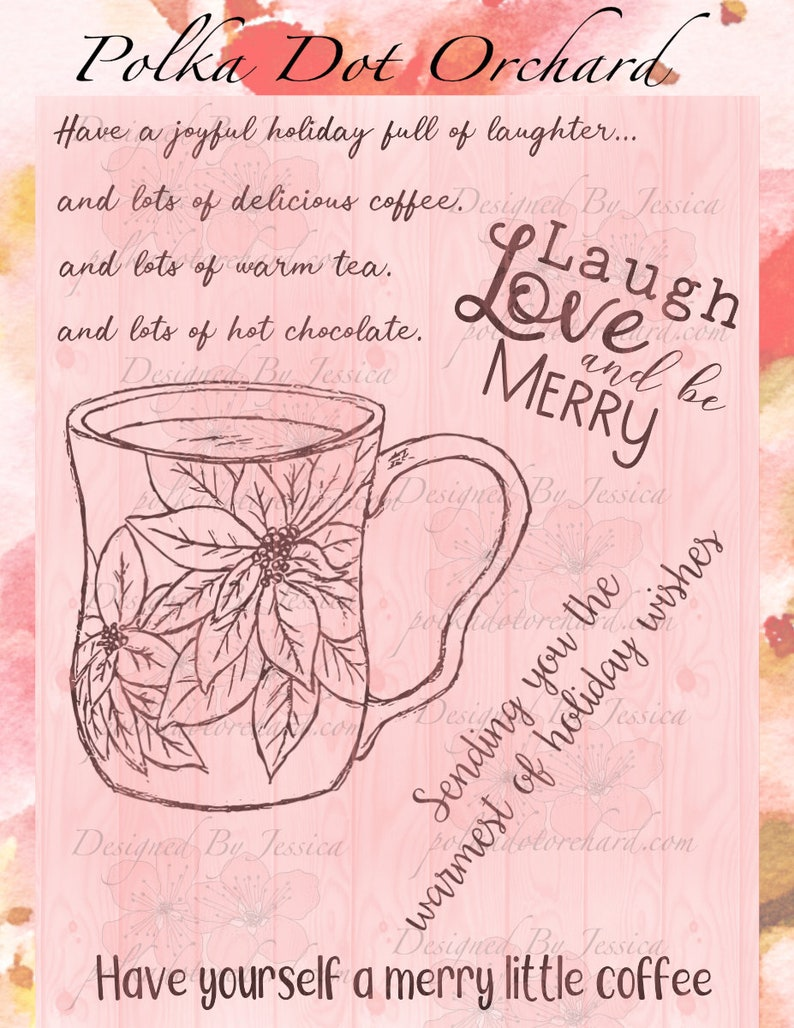 Merry Little Coffee Digital Stamp image 0