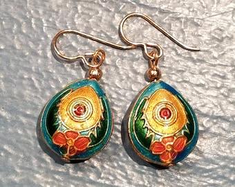 Dangle earrings featuring cloisonne