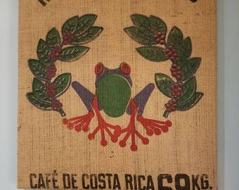 Frog 2 from Costa Rica Coffee Bag Wall Hanging