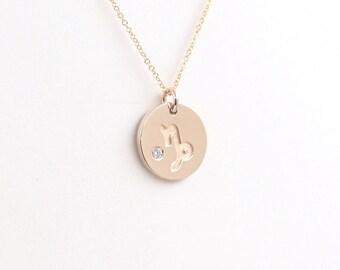 14K Solid Gold Gemini Zodiac Pendant Diamond NecklaceConstellation Jewelry