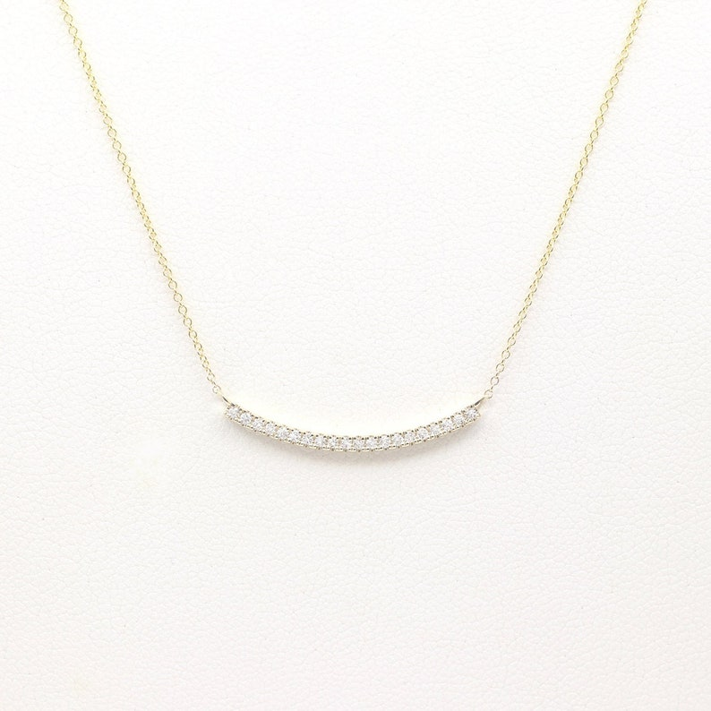 882f11412305f Diamond Curved Bar Necklace/Rose Gold Necklace/14k Solid Gold  Necklace/Dainty Natural Diamond Necklace/Simple Women Necklace/Dainty  Necklace