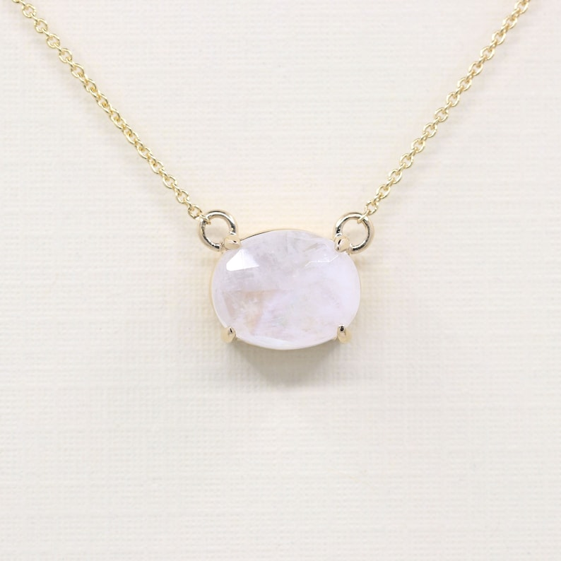 White gold Solitaire Moonstone Necklace Dainty 10 x 8 Natural Moonstone Pendant,Solid 14k Rose gold Yellow gold Woman/'s Necklace