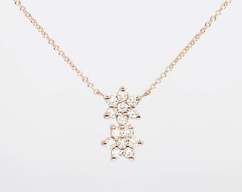 14k Rose Gold Diamond Necklace/14k Gold Women's Necklace/Simple Dainty Necklace/0.36 CT. High Quality Diamond Necklace