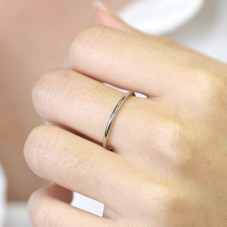 76b0cec9f5405 1.3mm Plain Wedding Band - Dainty Promise Ring - 14k Solid gold Ring -  Women's Wedding Band - Simple Stacking Ring - Thin Wedding Ring
