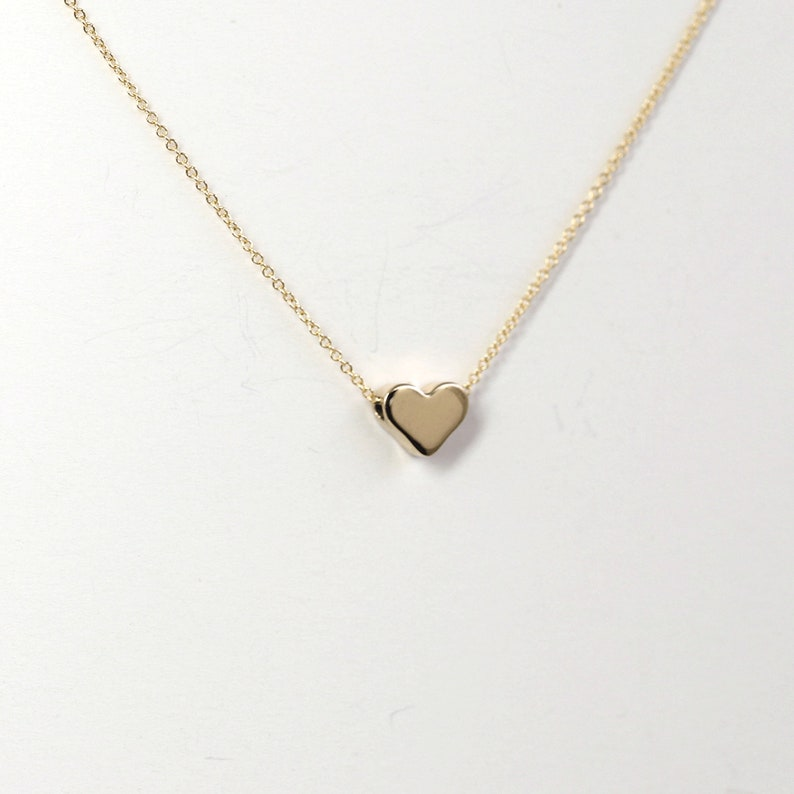 43d36c9d6 14k Solid Gold Heart Necklace/Sliding Dainty Necklace/Simple | Etsy