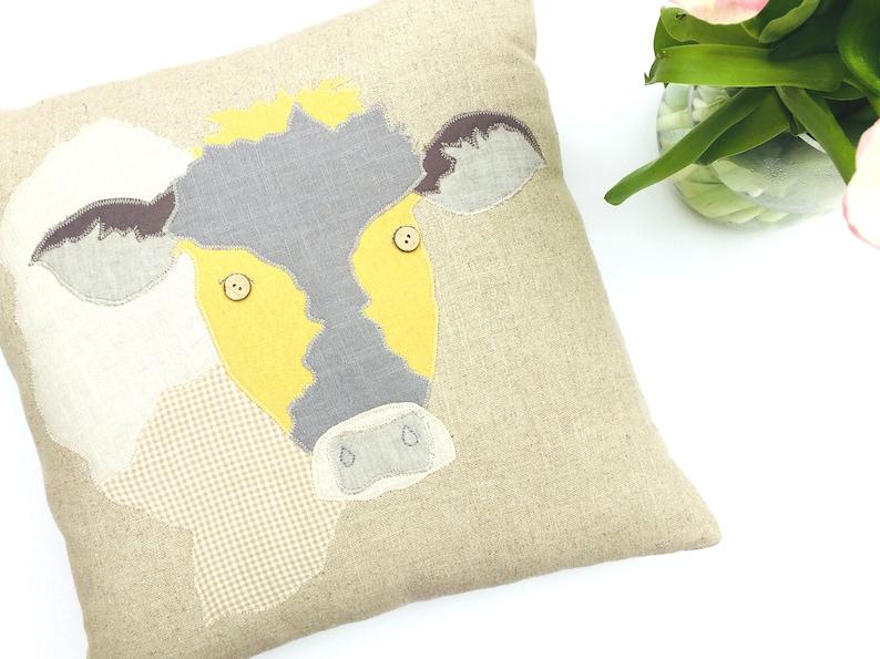 Handmade applique cow cushion unique cow cushion statement etsy