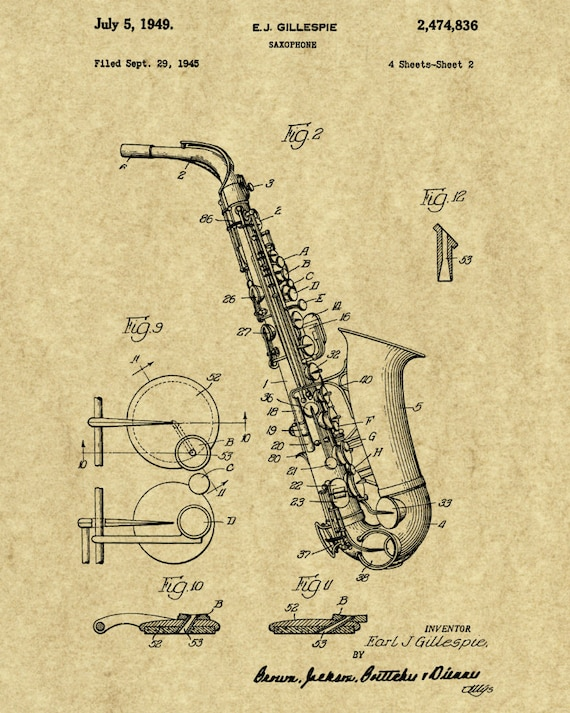 Saxophone Wall Art-Instrument Print-Saxophone | Etsy
