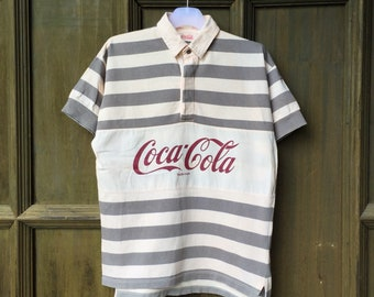 4504804fe9 vintage COCA COLA polo shirt spell out big logo.. coca cola coke rugby polo  shirt.. vintage polo shirt.. size M