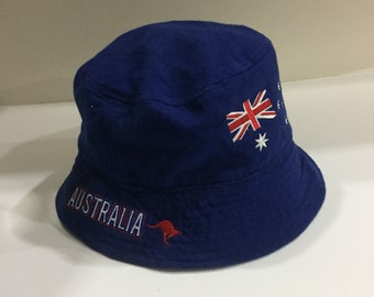 AUSTRALIA FLAG bucket hat Spell Out Big Logo.. vintage Bucket Hat..  Embroidered Logo... size OS 38d7f98f252