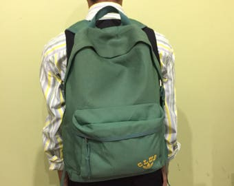 e0464fa851e vintage ADIDAS bagpacks spellout trefoil logo... ADIDAS CLUB.. green  color.. vintage bagpack.. made in japan.