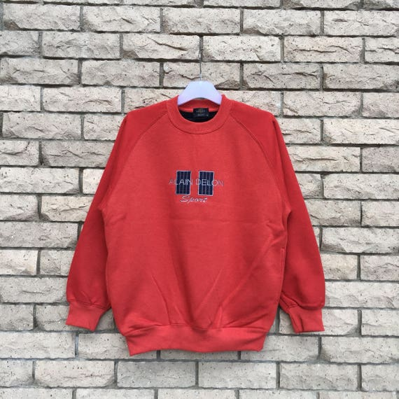 Rare!! Vintage ALAIN DELON Spellout Big Logo Embroidery Sweatshirt Large Size Ump17nmodD