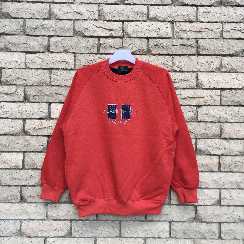Vintage Alain Delon Spell Out Thick Crewneck Jumper Sweatshirt Large Size