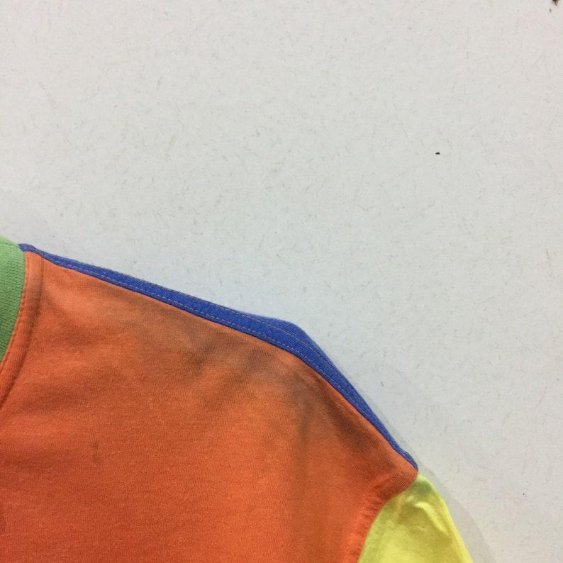 color block design. colorful. Italian designer. SPORT ICE t shirt spell out big design. size M vintage iceberg.