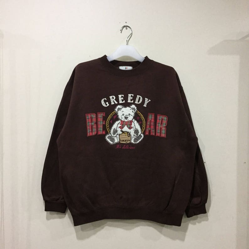 vintage LA CIFONELLI sweatshirt spell out embroidered big design   Greedy  Bear   vintage sweatshirt   size L